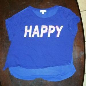 Medium Olsenboye Sheer back T-shirt hi-lo Blue